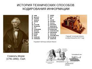 ИСТОРИЯ ТЕХНИЧЕСКИХ СПОСОБОВ КОДИРОВАНИЯ ИНФОРМАЦИИ Сэмюэль Морзе (1791-1892)