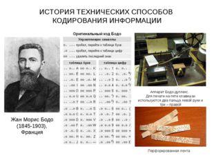 ИСТОРИЯ ТЕХНИЧЕСКИХ СПОСОБОВ КОДИРОВАНИЯ ИНФОРМАЦИИ Жан Морис Бодо (1845-1903