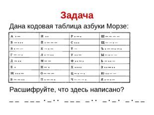 Задача Дана кодовая таблица азбуки Морзе: Расшифруйте, что здесь написано? _