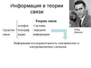 Информация в теории связи Теория связи телефон Системы Средства телеграф пере