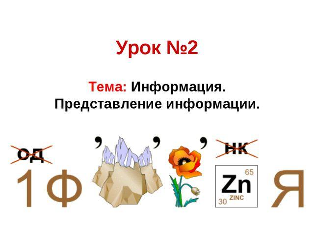 Урок №2 Тема: Информация. Представление информации.