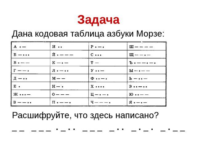 Задача Дана кодовая таблица азбуки Морзе: Расшифруйте, что здесь написано? _...