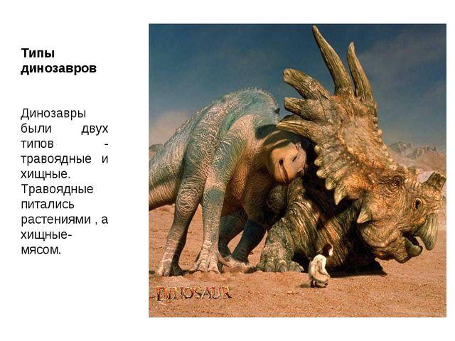 Типы динозавров Динозавры были двух типов - травоядные и хищные. Травоядные п...