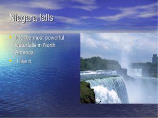 Niagara falls It is the most powerful waterfalls in North America. I like it.