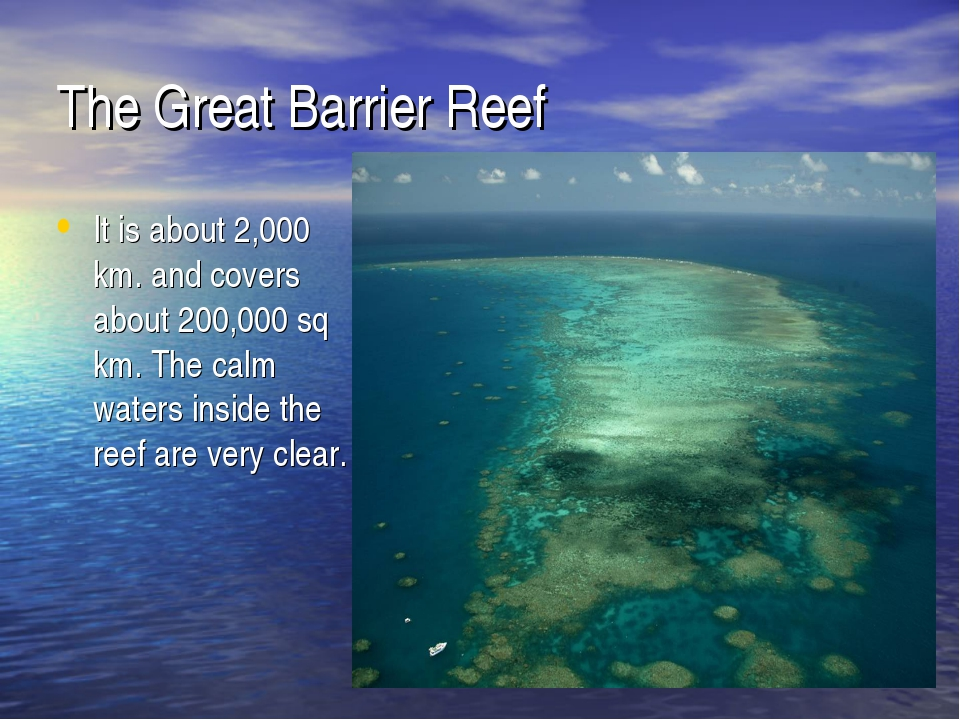 The Great Barrier Reef It is about 2,000 km. and covers about 200,000 sq km....