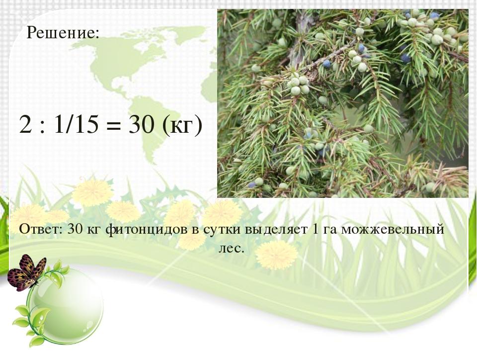 Решение: 2 : 1/15 = 30 (кг) Ответ: 30 кг фитонцидов в сутки выделяет 1 га мож...