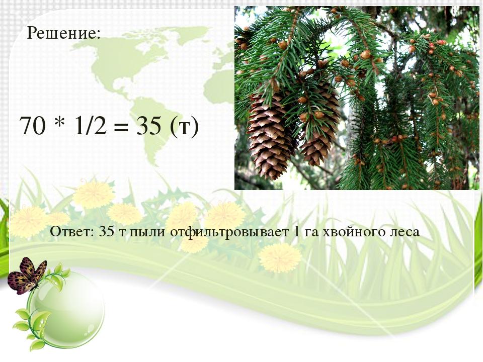 Решение: 70 * 1/2 = 35 (т) Ответ: 35 т пыли отфильтровывает 1 га хвойного леса