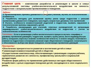 Главная цель - комплексная разработка и реализация в школе и семье результати