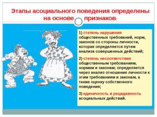 1) степень нарушения общественных требований, норм, законов со стороны личнос