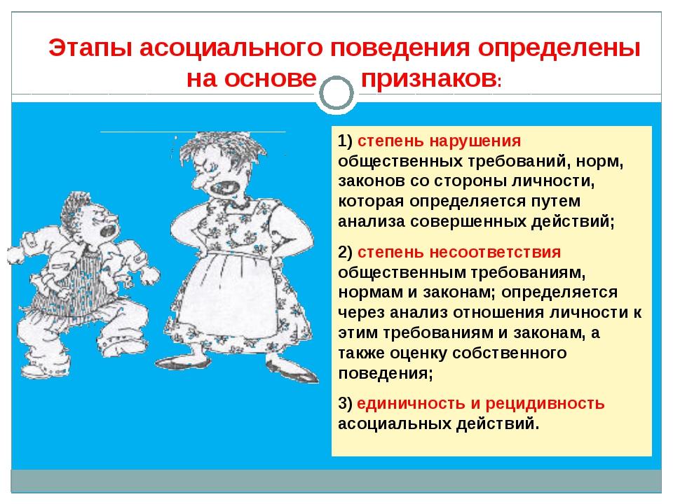 1) степень нарушения общественных требований, норм, законов со стороны личнос...