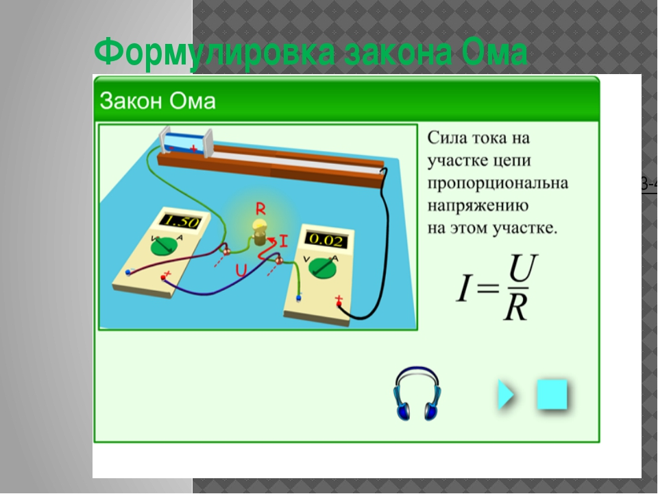 Формулировка закона Ома http://files.school-collection.edu.ru/dlrstore/375a64...