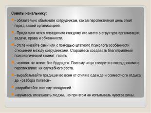 Советы начальнику: - обязательно объясните сотрудникам, какая перспективная ц