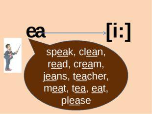 ea [i:] speak, clean, read, cream, jeans, teacher, meat, tea, eat, please