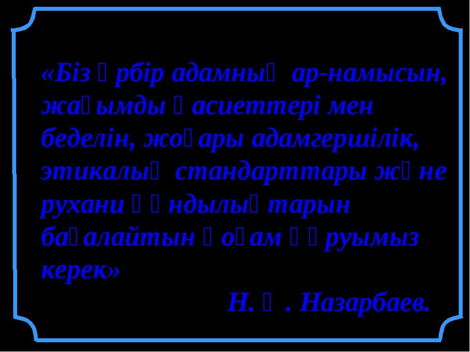 «Біз әрбір адамның ар-намысын, жағымды қасиеттері мен беделін, жоғары адамге...