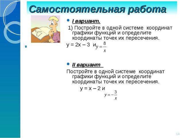 Самостоятельная работа * I вариант. 1) Постройте в одной системе координат гр...