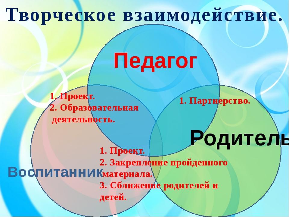 Творческое взаимодействие. 1. Проект. 2. Образовательная деятельность. 1. Па...
