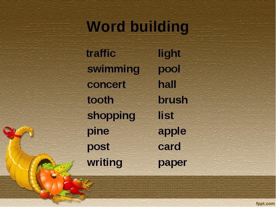 Word building traffic swimming concert tooth shopping pine post writing light...