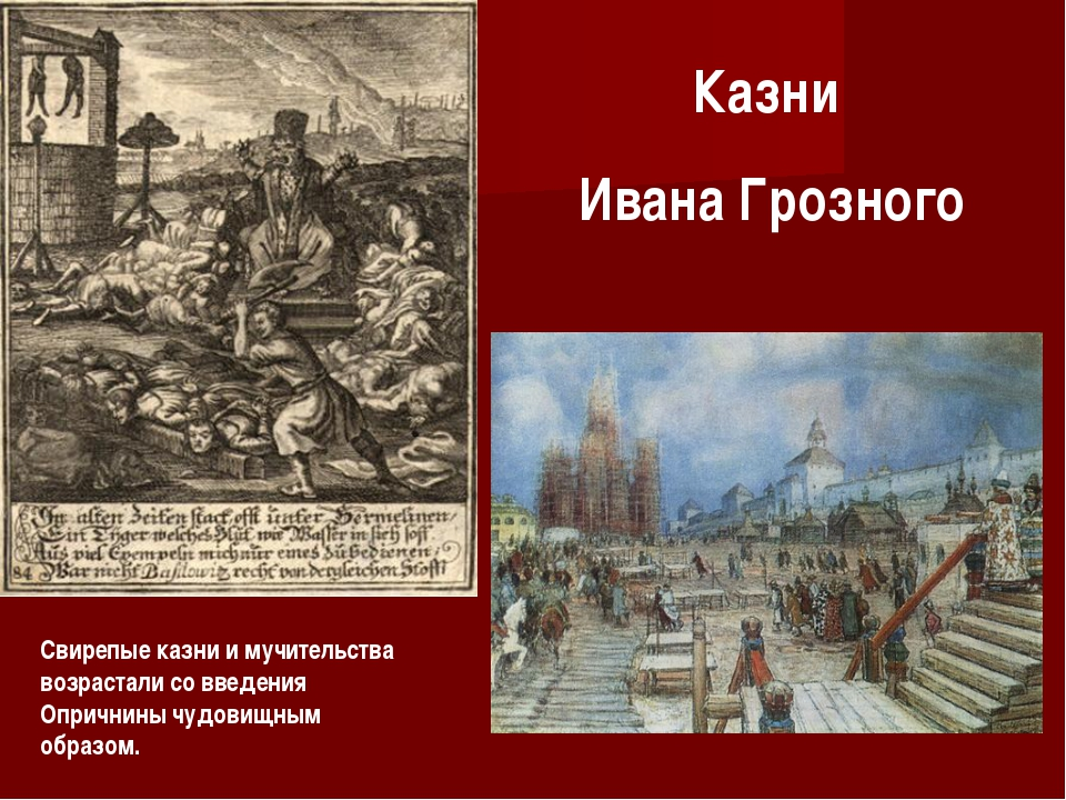 Казни Ивана Грозного Свирепые казни и мучительства возрастали со введения Опр...