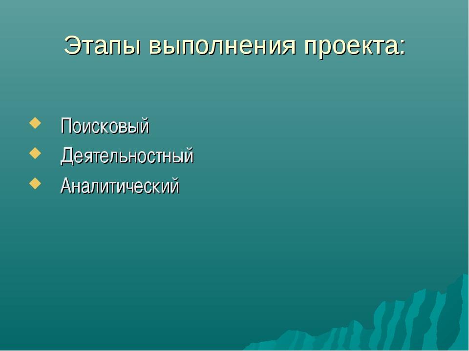 Этапы выполнения проекта: Поисковый Деятельностный Аналитический