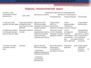 Образец технологической карты Технологическая карта урока, соответствующая т