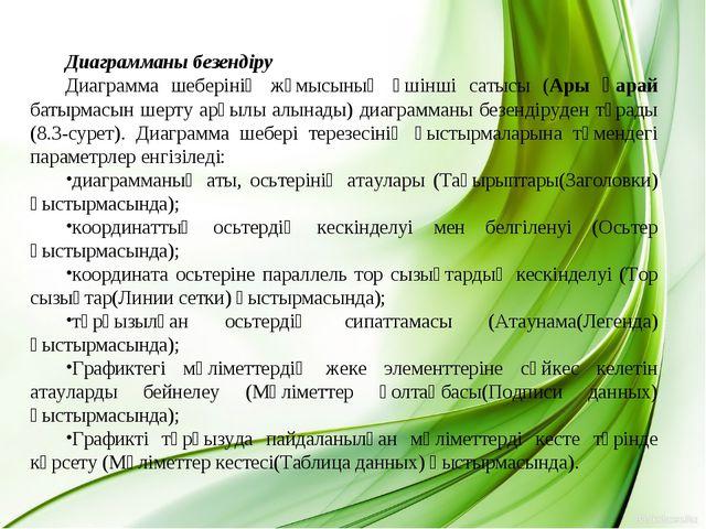 Диаграмманы безендіру Диаграмма шеберінің жұмысының үшінші сатысы (Ары қарай...