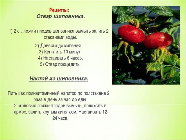 Рецепты: Отвар шиповника. 1) 2 ст. ложки плодов шиповника вымыть залить 2 ст...
