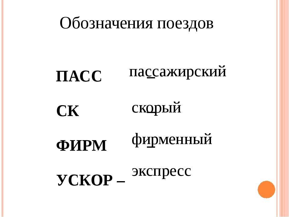 ПАСС – СК – ФИРМ – УСКОР – Обозначения поездов пассажирский скорый фирменн...