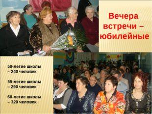 Вечера встречи – юбилейные 50-летие школы – 240 человек 55-летие школы – 290