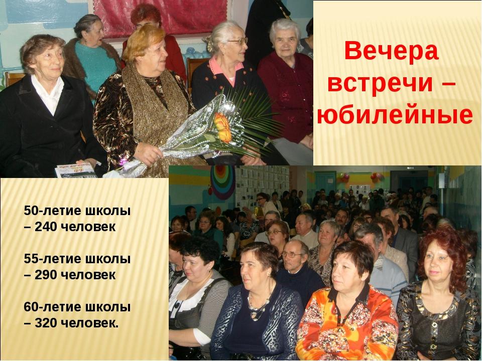 Вечера встречи – юбилейные 50-летие школы – 240 человек 55-летие школы – 290...