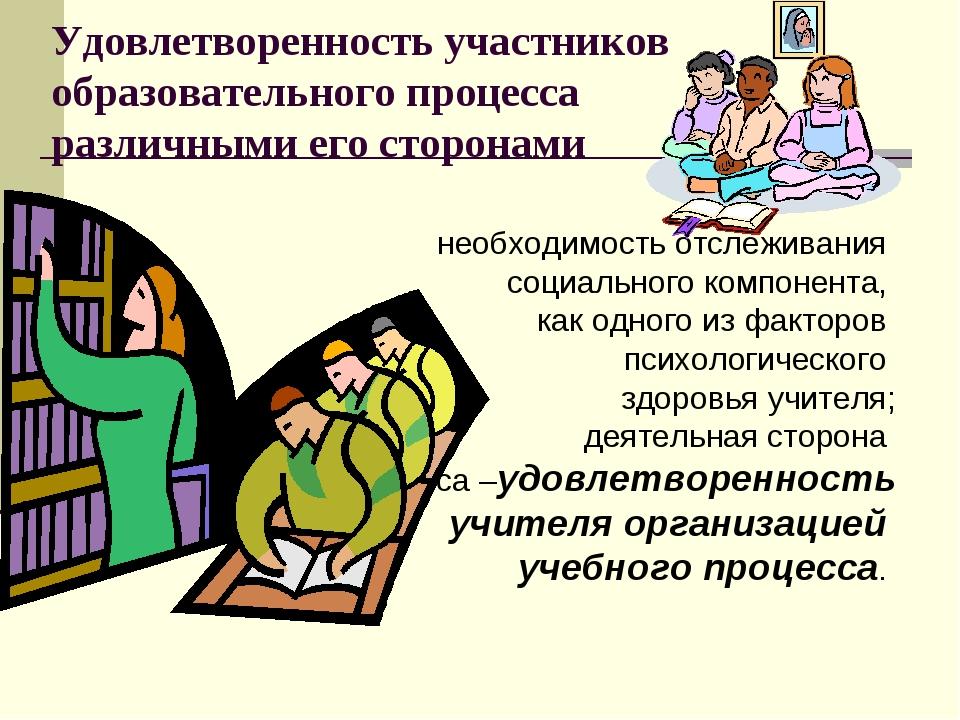 Удовлетворенность участников образовательного процесса различными его сторона...