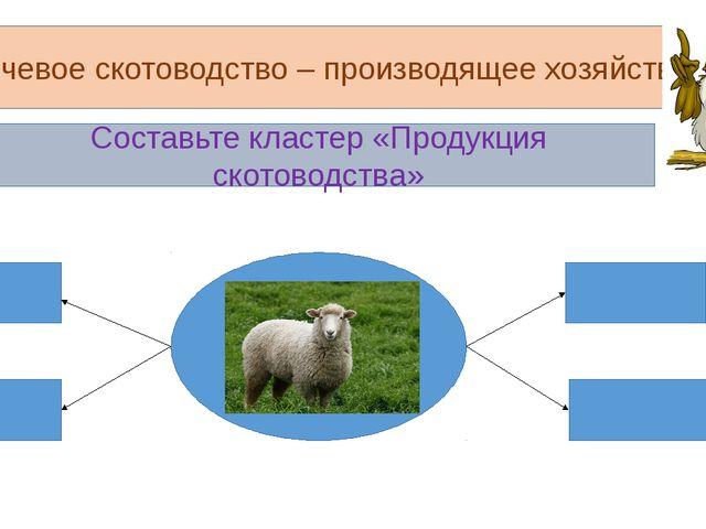 Кочевое скотоводство – производящее хозяйство Составьте кластер «Продукция ск...