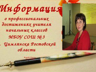 Информация Жирковой Натальи Вячеславовны о профессиональных достижениях учите