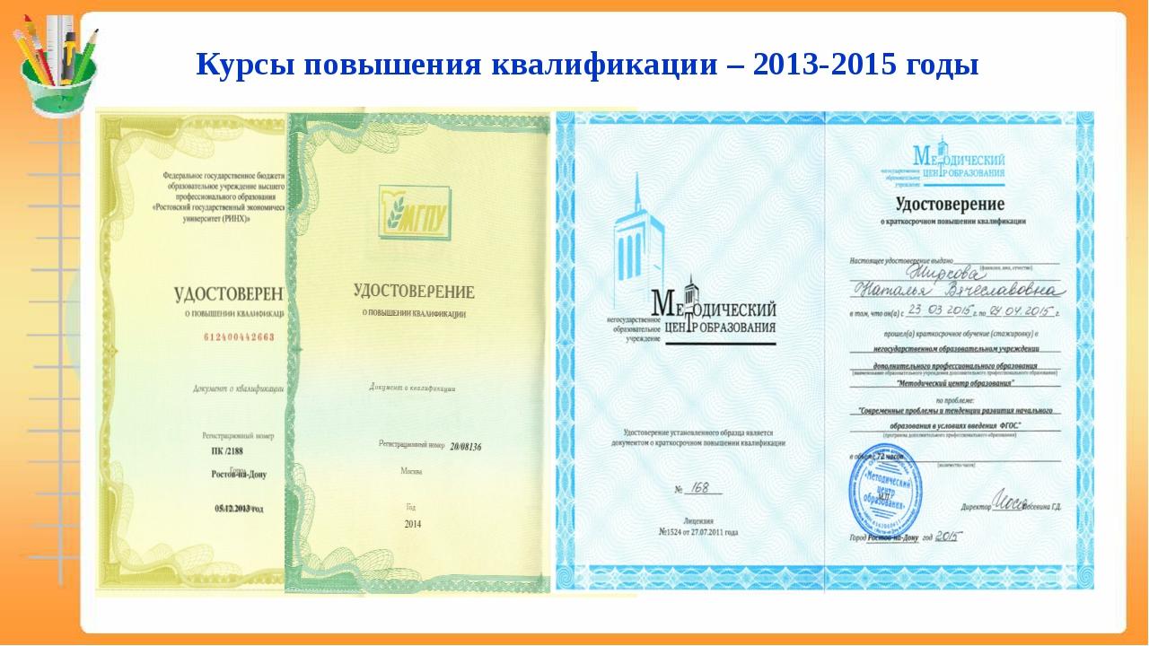 Курсы повышения квалификации – 2013-2015 годы