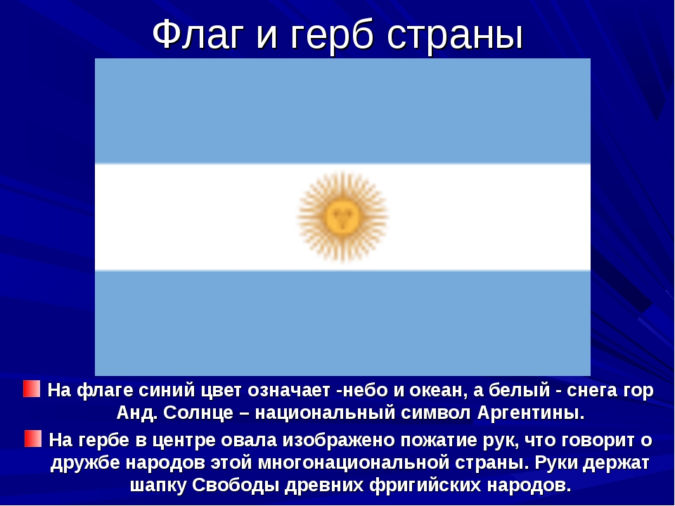 Флаг и герб страны На флаге синий цвет означает -небо и океан, а белый - снег...