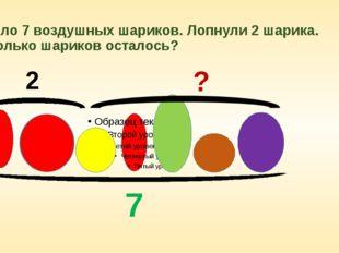 Было 7 воздушных шариков. Лопнули 2 шарика. Сколько шариков осталось? 7 2 ?