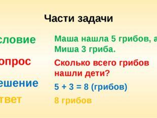 Части задачи Условие Вопрос Решение Ответ Маша нашла 5 грибов, а Миша 3 гриба