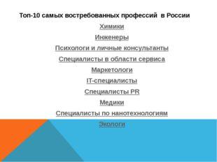 Топ-10 самых востребованных профессий в России Химики Инженеры Психологи и ли