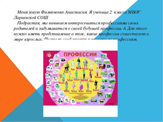 Меня зовут Филипченко Анастасия. Я ученица 2 класса МБОУ Ларневской СОШ Подр...