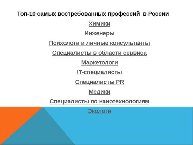 Топ-10 самых востребованных профессий в России Химики Инженеры Психологи и ли...