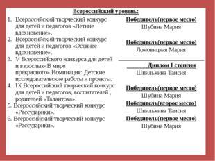 Всероссийский уровень: Всероссийский творческий конкурс для детей и педагогов