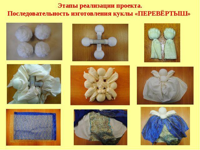 Этапы реализации проекта. Последовательность изготовления куклы «ПЕРЕВЁРТЫШ»
