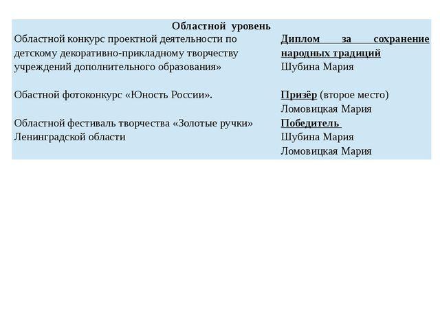 Областной уровень Областной конкурс проектной деятельности по детскомудекора...