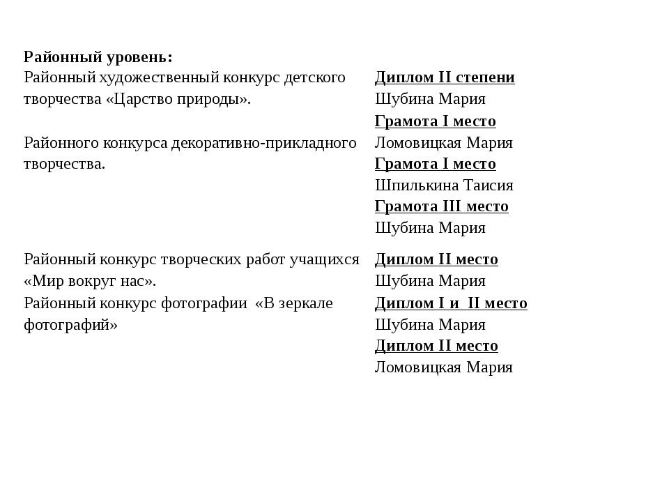 Достижения учащихся Районный уровень: Районный художественный конкурс детског...