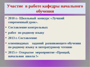 Участие в работе кафедры начального обучения 2010 г.- Школьный конкурс «Лучши