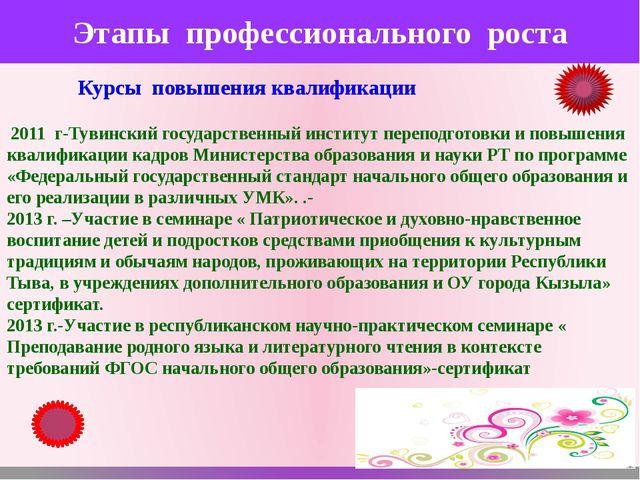 Этапы профессионального роста Курсы повышения квалификации 2011 г-Тувинский г...