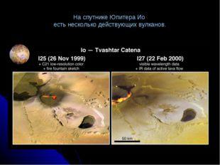 На спутнике Юпитера Ио есть несколько действующих вулканов.