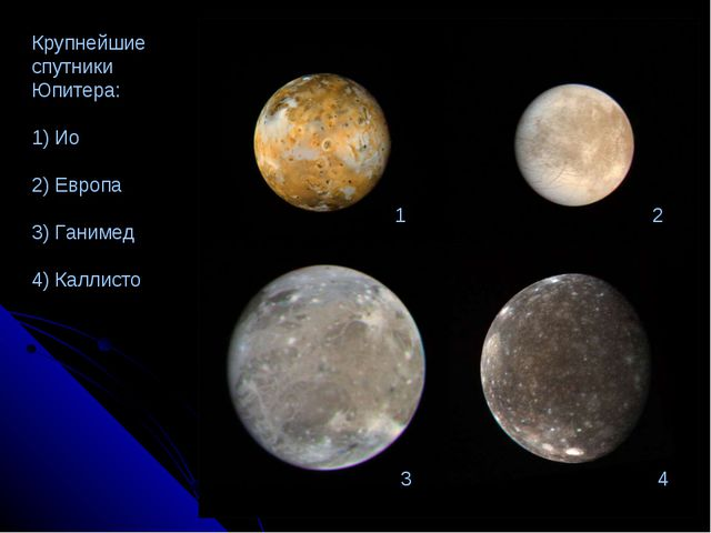 1 2 3 4 Крупнейшие спутники Юпитера: 1) Ио 2) Европа 3) Ганимед 4) Каллисто