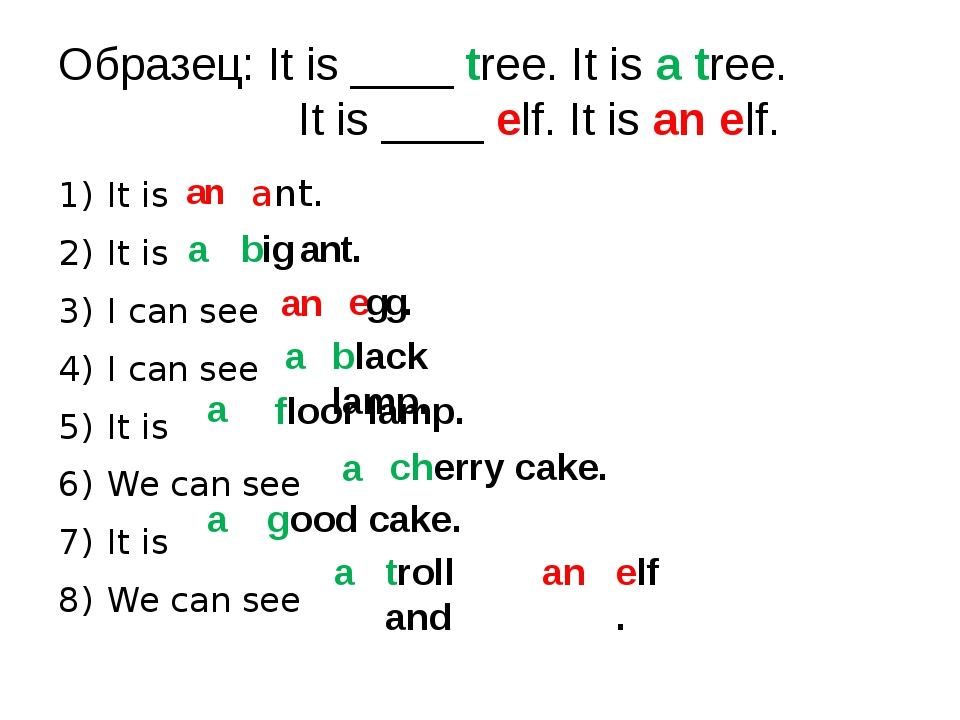 Образец: It is ____ tree. It is a tree. It is ____ elf. It is an elf. It is I...