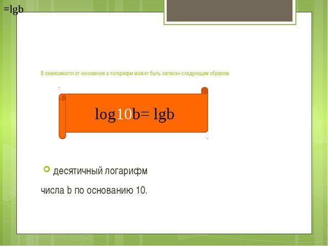 В зависимости от основания а логарифм может быть записан следующим образом:...