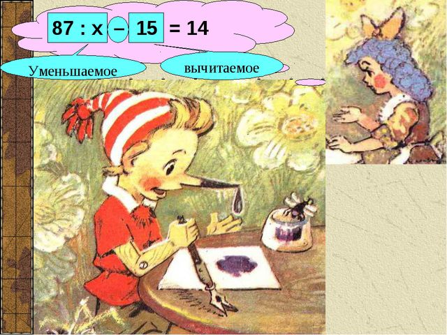 вычитаемое Уменьшаемое 87 : х – 15 = 14